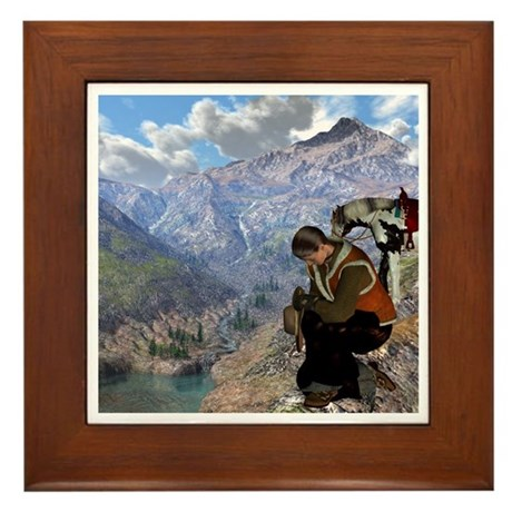 Cowboy Christmas Framed Tile