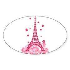 Flower Eiffel 02 Oval Decal