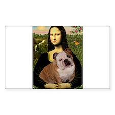 Mona Lisa & English Bulldog Rectangle Decal