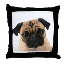 Unique Pug dog Throw Pillow