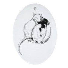 Rat Hug Oval Ornament