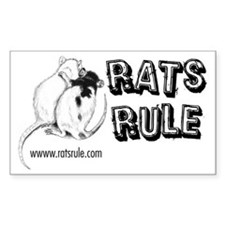 Rats Rule Rat Hug Rectangle Decal