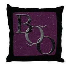 """Boo"" Throw Pillow (purple)"