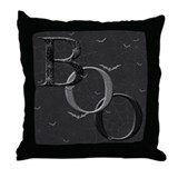 """Boo"" Throw Pillow (black)"