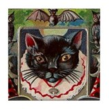 Halloween Black Cat #1 Postcard Art Tile