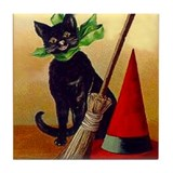 Halloween Black Cat #2 Postcard Art Tile Coaster