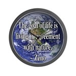 Living With Nature Quote Wall Clock