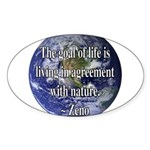Living With Nature Quote Oval Sticker