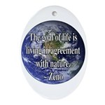 Living With Nature Quote Oval Ornament
