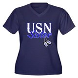 USN Sister Dog Tag Women's Plus Size V-Neck Dark T