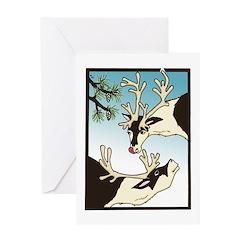 2 Reindeer & Pine Greeting Card Seasons Greetings