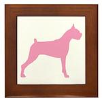 Pink Boxer Dog Framed Tile