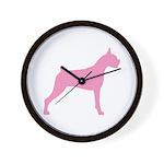 Pink Boxer Dog Wall Clock