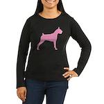 Pink Boxer Dog Women's Long Sleeve Dark T-Shirt