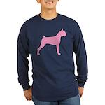 Pink Boxer Dog Long Sleeve Dark T-Shirt