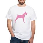 Pink Boxer Dog White T-Shirt