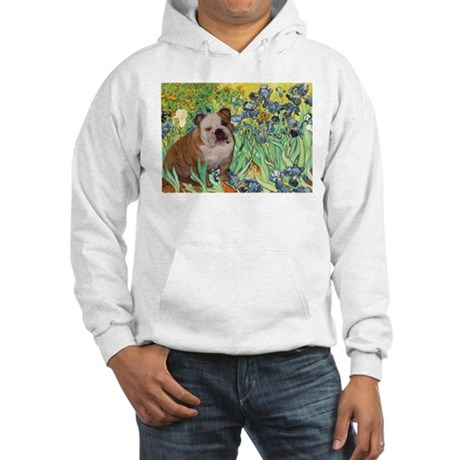 Irises & English Bulldog #1 Hooded Sweatshirt