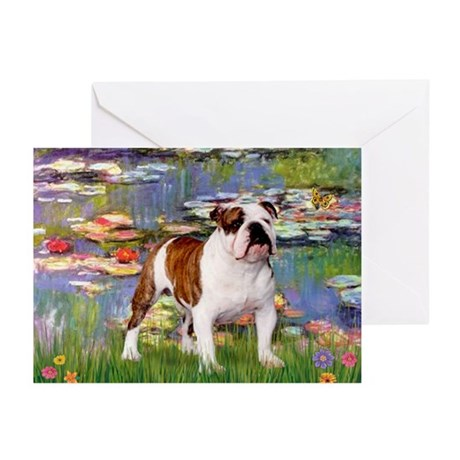 Lilies & English Bulldog Greeting Cards (Package o