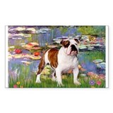 Lilies &amp; English Bulldog Rectangle Decal
