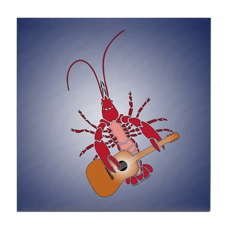 Crayfish Guitarist Tile Coaster