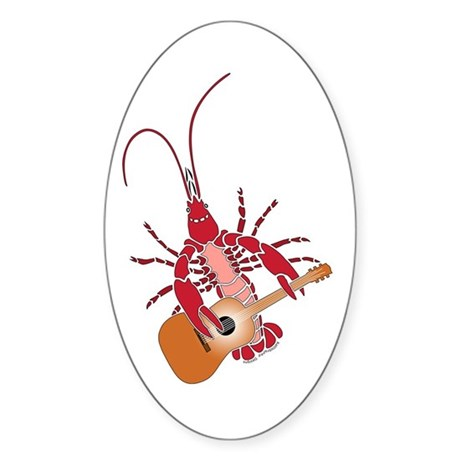 Crayfish Guitarist Oval Sticker