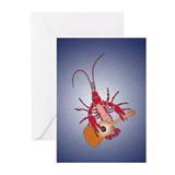 Crayfish Guitarist Greeting Cards (Pk of 10)