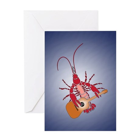 Crayfish Guitarist Greeting Card