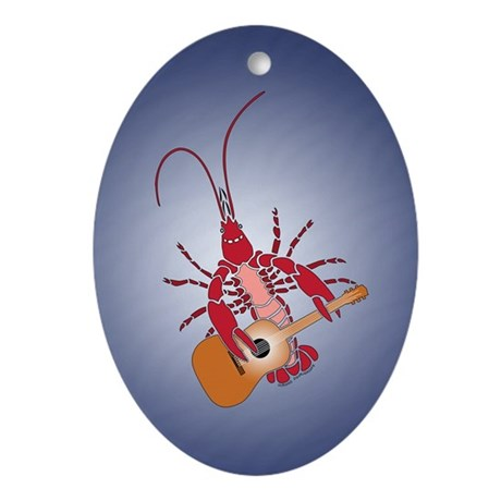 Crayfish Guitarist Oval Ornament