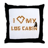 """I Love My Log Cabin"" Throw Pillow"