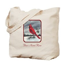Cardinal On Pine Personalize Tote Bag