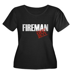 Off Duty Fireman Women's Plus Size Scoop Neck Dark