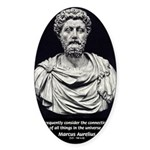 Marcus Aurelius Stoicism Oval Sticker