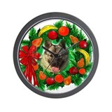 Norwegian Elkhound Christmas Wall Clock