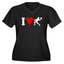 I Love Football Women's Plus Size V-Neck Dark T-Sh