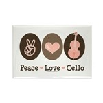 Peace Love Cello Rectangle Magnet (100 pack)