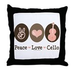 Peace Love Cello Throw Pillow