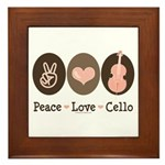 Peace Love Cello Framed Tile