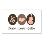 Peace Love Cello Rectangle Sticker