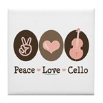 Peace Love Cello Tile Coaster