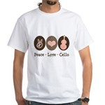 Peace Love Cello White T-Shirt