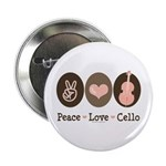 Peace Love Cello Button