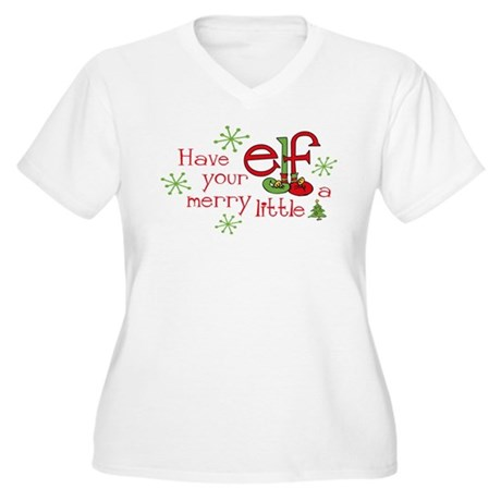 Merry Elf Women's Plus Size V-Neck T-Shirt