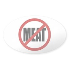 No Meat Symbol Oval Decal