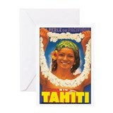 Vintage Tahiti Girl Greeting Card