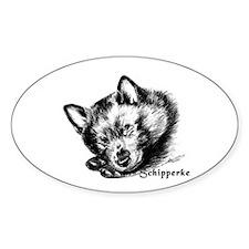 Sleeping Schip Pup Oval Decal