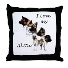 I Love My Akita Throw Pillow