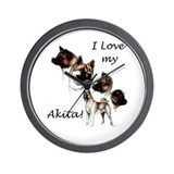 I Love My Akita Wall Clock
