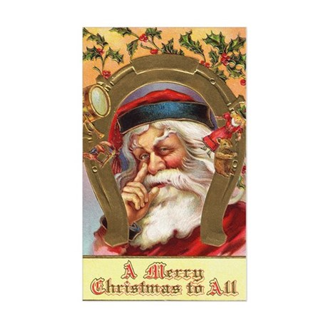 Vintage Santa Rectangle Sticker