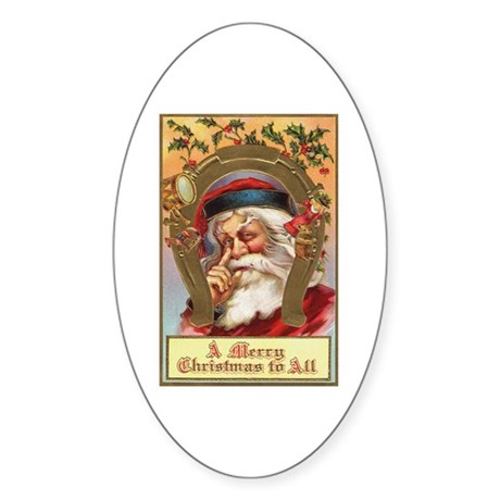 Vintage Santa Oval Sticker