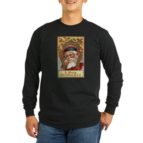 Vintage Santa Long Sleeve Dark T-Shirt